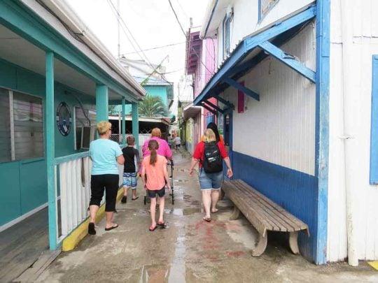 family taking a tour of Bonacca Town