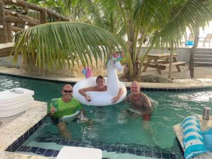 guests enjoying floats in the lazy river