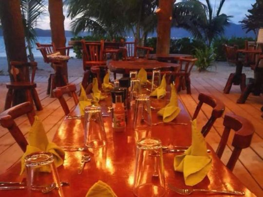 open-air restaurant at night
