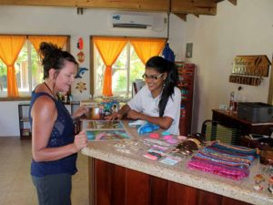 customer inside clarks cay gift shop