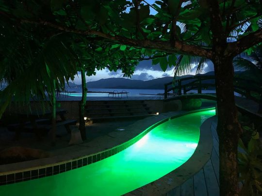 nightime lightshow in the lazy river